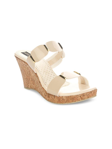 Shoetopia Women Cream-Coloured Solid Pumps