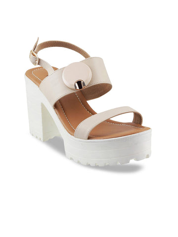 Metro Women Beige Solid Platforms