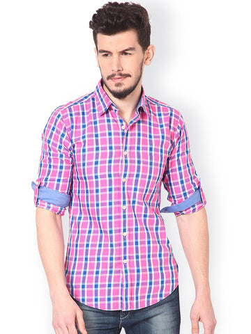 Monteil & Munero Men Pink & Blue Regular Fit Checked Casual Shirt