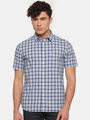 Indian Terrain Men Blue & White Slim Fit Checked Casual Shirt