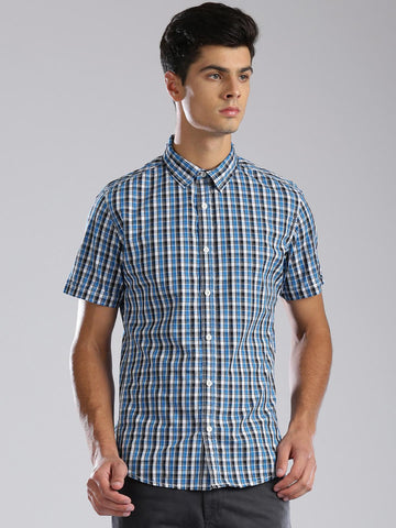 HRX by Hrithik Roshan Blue & White Checked Casual Shirt