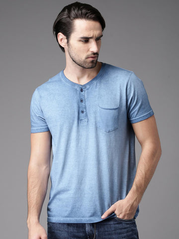 HERE&NOW Men Blue Dyed Henley Neck T-shirt