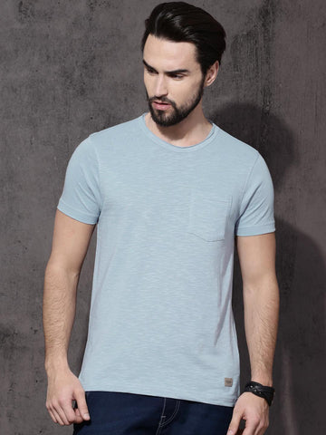 Roadster Men Blue Solid Round Neck T-Shirt