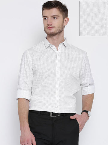 529ab065482 John Players White Printed Slim Formal Shirt