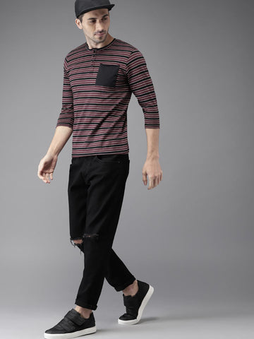 HERE&NOW Men Burgundy & Black Striped Henley Neck T-shirt