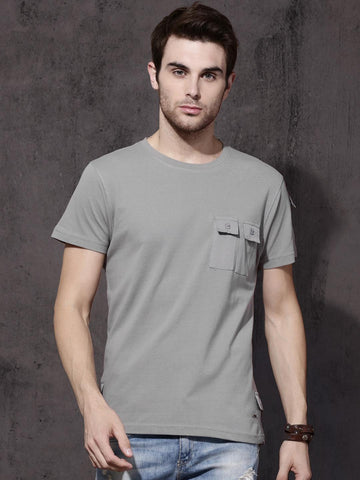 Roadster Men Grey Solid Round Neck T-shirt