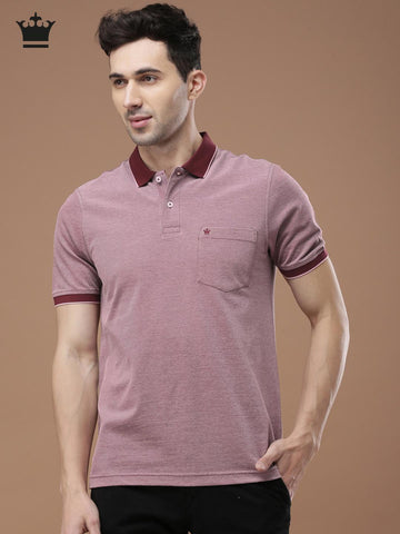 Louis Philippe Men Maroon Solid Polo Collar T-shirt