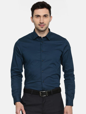Arrow New York Men Navy Snug Slim Fit Solid Formal Shirt