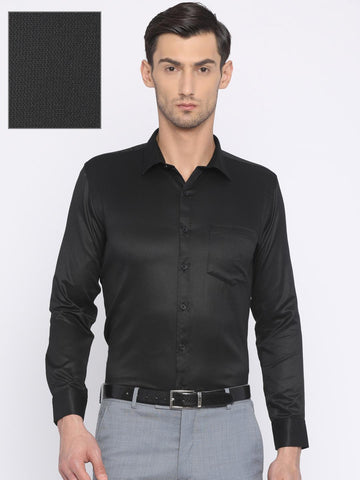 John Miller Hangout Men Black Slim Fit Self Design Formal Shirt