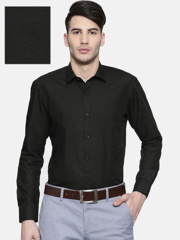 RG DESIGNERS Men Black Slim Fit Solid Formal Shirt