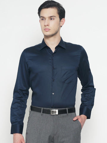 IVOC Men Navy Blue Slim Fit Solid Formal Shirt