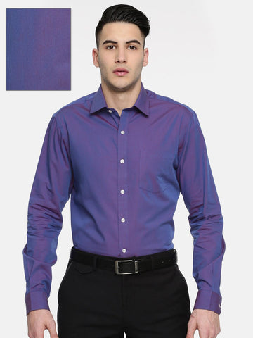 Arrow Men Purple Snug Slim Fit Solid Formal Shirt
