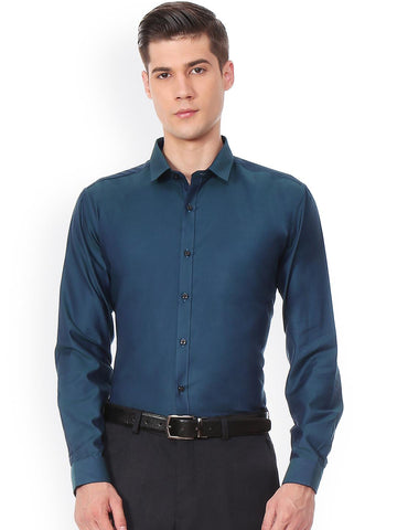 V Dot Men Teal Bue Slim Fit Solid Formal Shirt