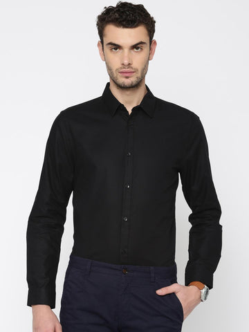 Jack & Jones Men Black Slim Fit Self Design Smart Casual Shirt