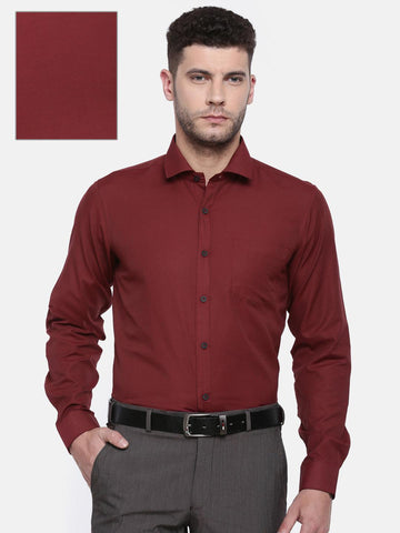Excalibur Men Maroon Classic Regular Fit Solid Formal Shirt
