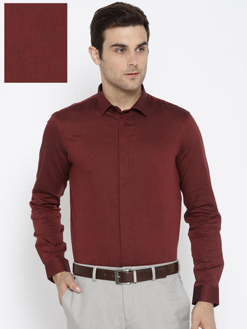 Arrow New York Men Maroon Slim Fit Solid Formal Shirt