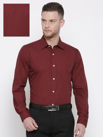 Raymond Men Maroon Solid Formal Shirt