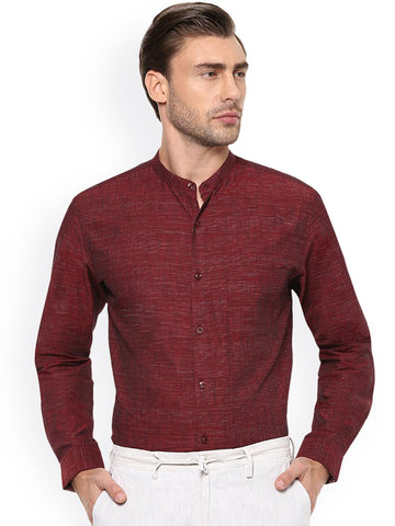Peter England Men Maroon Slim Fit Self Design Formal Shirt