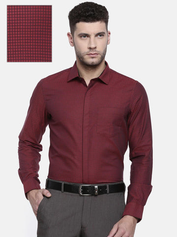 Excalibur Men Red & Black Slim Fit Checked Formal Shirt