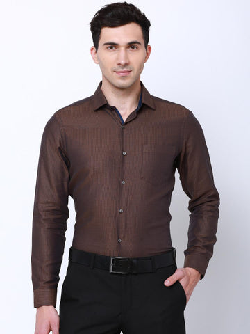 Black coffee Men Brown & Blue Slim Fit Self Design Formal Shirt