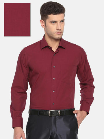 Van Heusen Men Red Custom Regular Fit Solid Formal Shirt