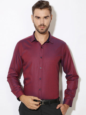 V Dot by Van Heusen Men Magenta Slim Fit Self-Design Casual Shirt