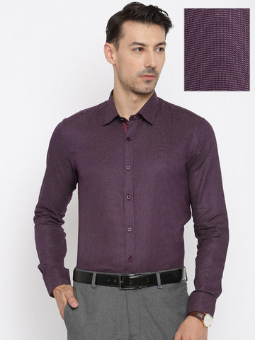 Urban Nomad Men Purple & Beige Slim Fit Self-Design Formal Shirt