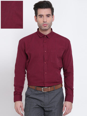 Independence Men Maroon Slim Fit Solid Formal Shirt