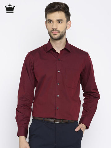 Louis Philippe Men Maroon & Black Milano Slim Fit Checked Formal Shirt