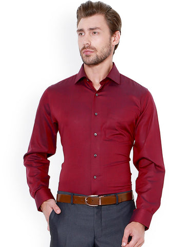 Van Heusen Men Red Slim Fit Solid Formal Shirt