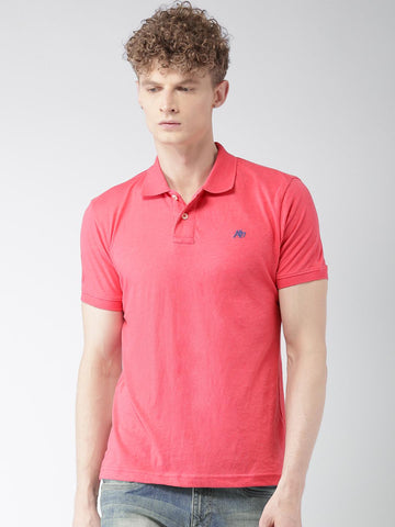 Aeropostale Men Pink Solid Polo Collar T-shirt