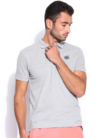 People Men Grey Polo T-shirt
