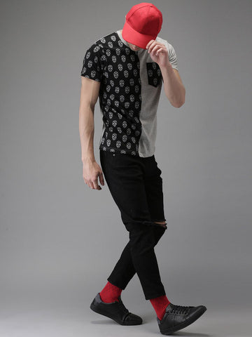 Moda Rapido Men Black Printed Round Neck T-shirt