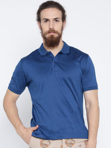Wills Lifestyle Blue Slim Polo T-shirt