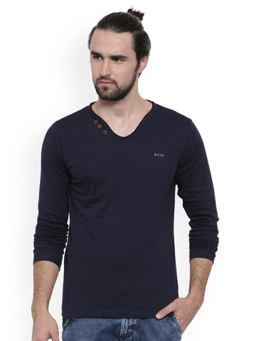 WITH Men Blue Solid V-Neck T-shirt