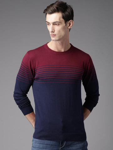 HERE&NOW Men Maroon & Navy Blue Striped Pullover