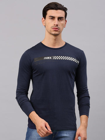 HRX by Hrithik Roshan Men Navy Printed Round Neck T-shirt