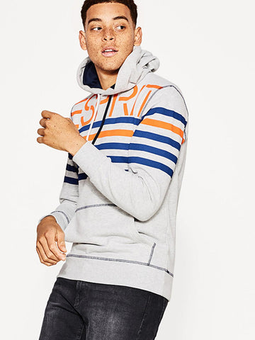 ESPRIT Men Grey Melange Striped Hooded Sweatshirt