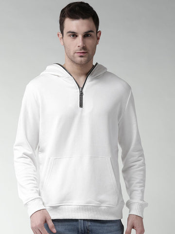 FOREVER 21 Men White Solid Hooded Sweatshirt