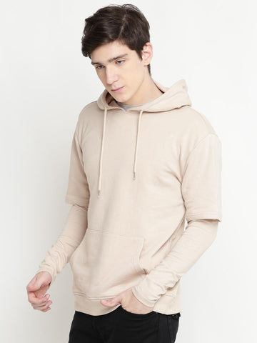 FOREVER 21 Men Beige Solid Hooded Sweatshirt