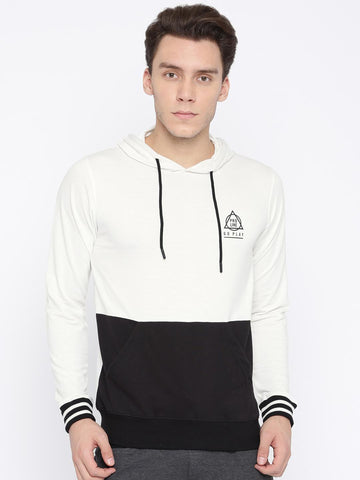 Proline Active Men White & Black Colourblocked Hooded Sweatshirt