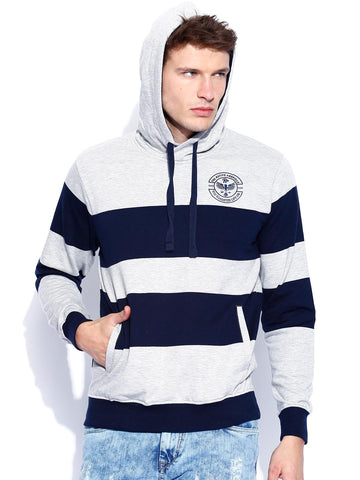 Roadster Grey Melange & Navy Striped Hooded Sweatshirt