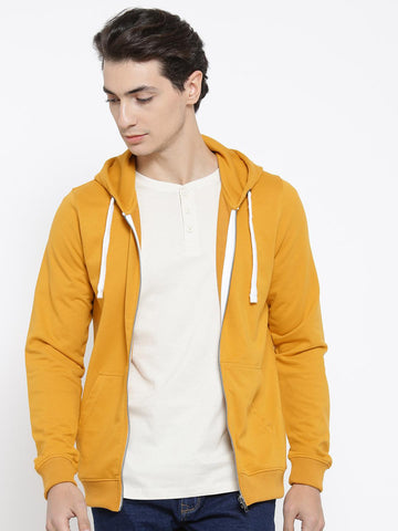 Mast & Harbour Men Mustard Yellow Solid Hooded Sweatshirt