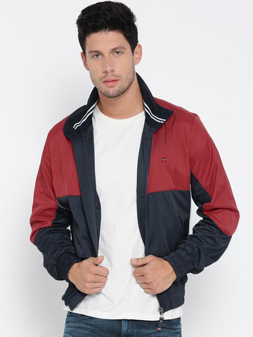 Louis Philippe Men Navy Blue & Red Colourblocked Jacket