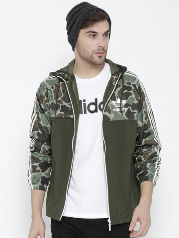 Adidas Originals Men Olive Green Reversible WindBreaker Camouflage Print Hooded Sporty Jacket