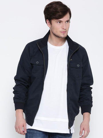 John Players Men Navy Solid Bomber Jacket