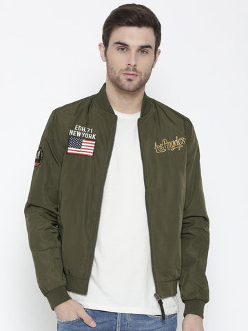 Ed Hardy Men Olive Green Applique Bomber Jacket