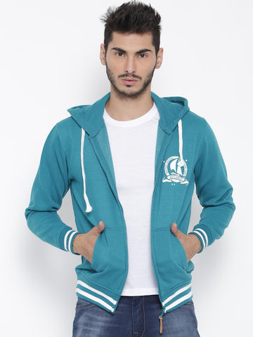 Mast & Harbour Teal Blue Hooded Sweatshirt