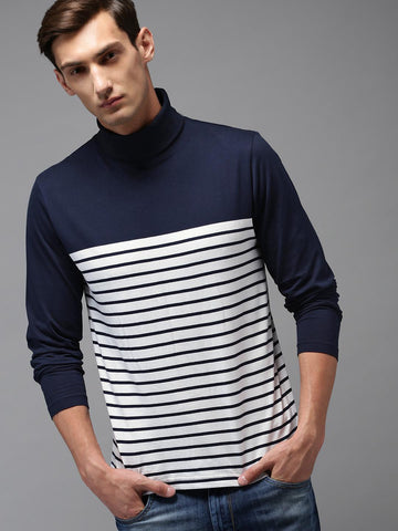 HERE&NOW Men White Striped Turtle Neck T-shirt