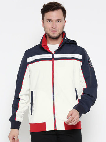 Tommy Hilfiger Men White & Navy Colourblocked Hooded Jacket